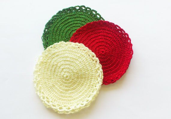 Christmas crochet coasters christmas color coasters by SilviStudio