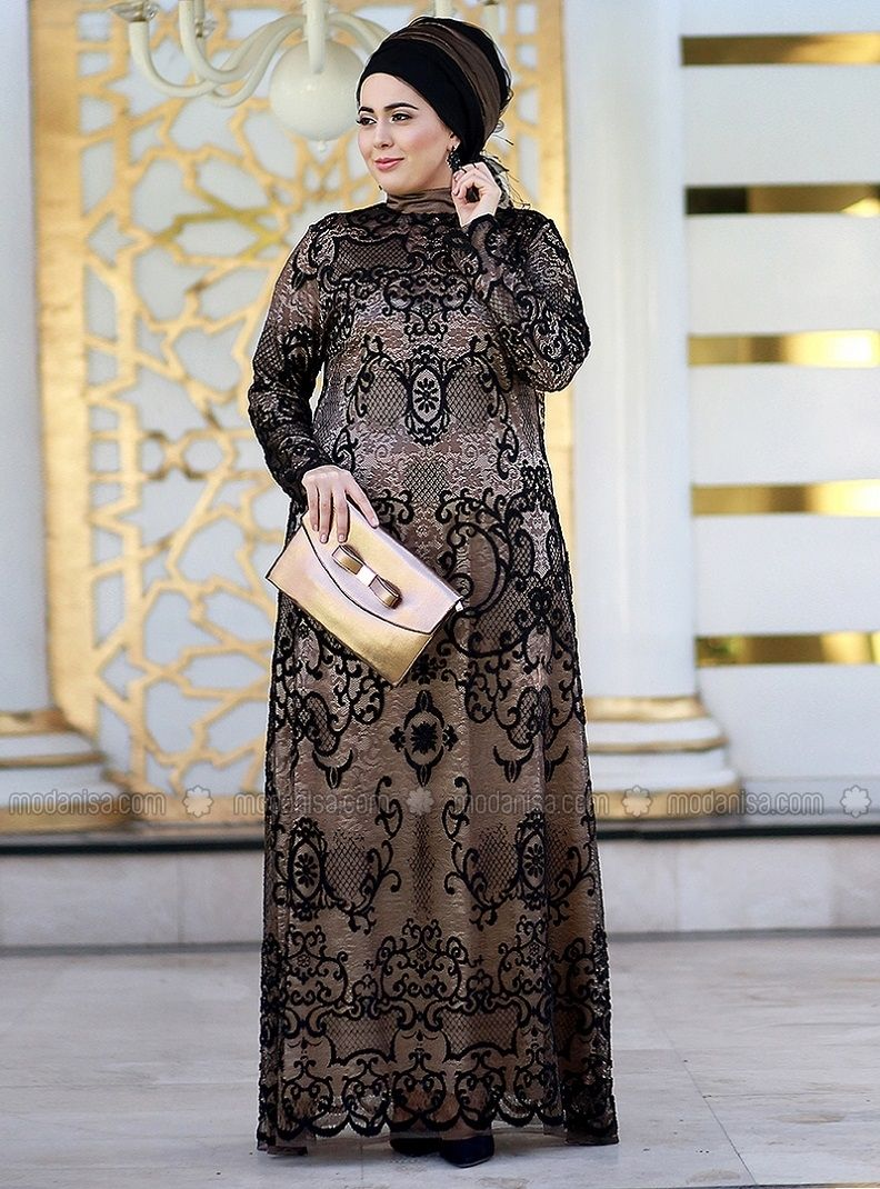 0877646f51b Black - Gold - Fully Lined - Crew neck - Polyester - Muslim Plus Size  Evening Dress - Nesrin Emniyetli