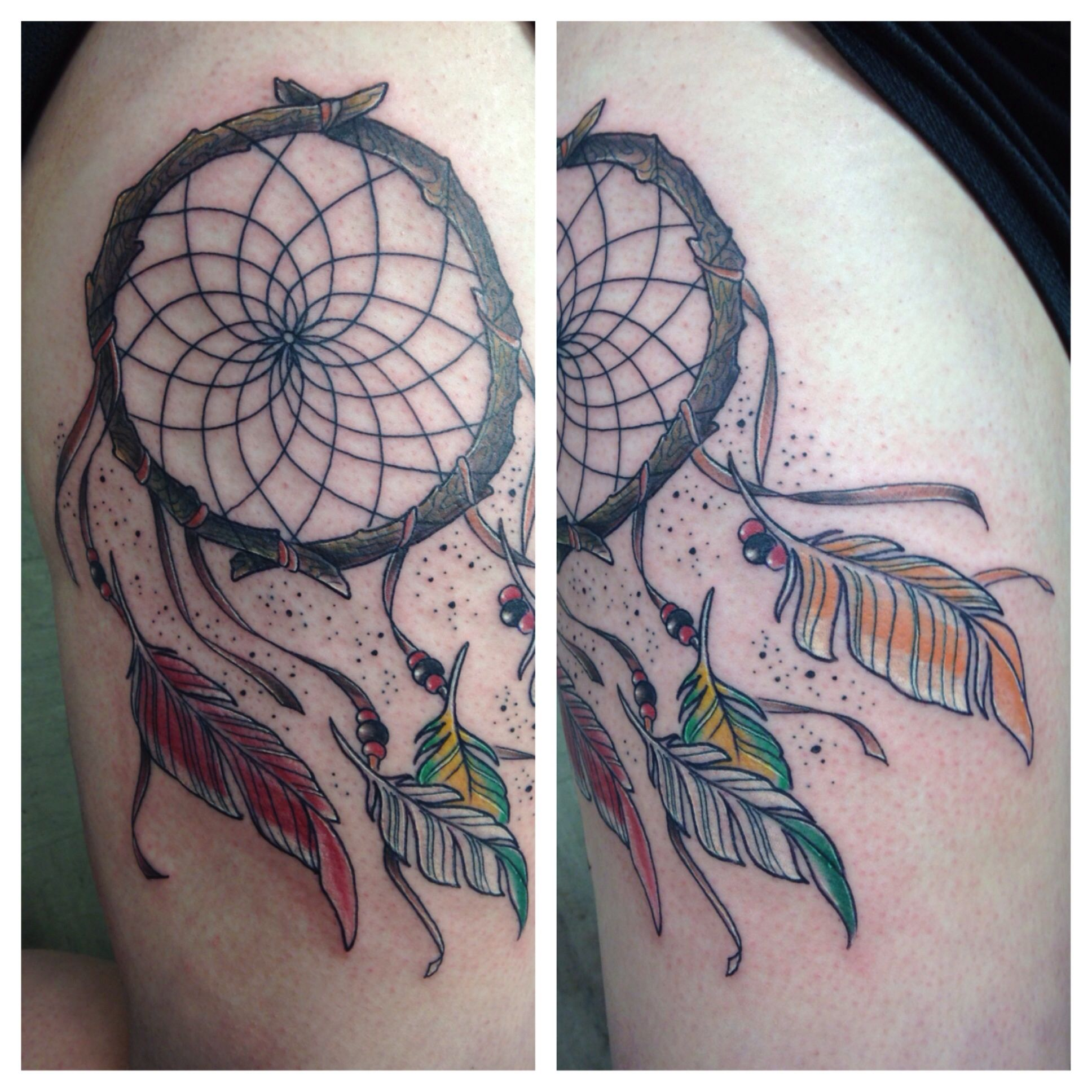 Tattoo number three dream catcher with the feathers of for Number 3 tattoo