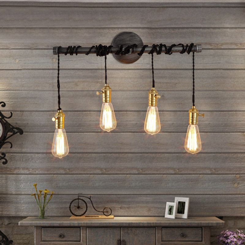 Industrial 4 light plumbing pipe hanging exposed bulb metal wall light
