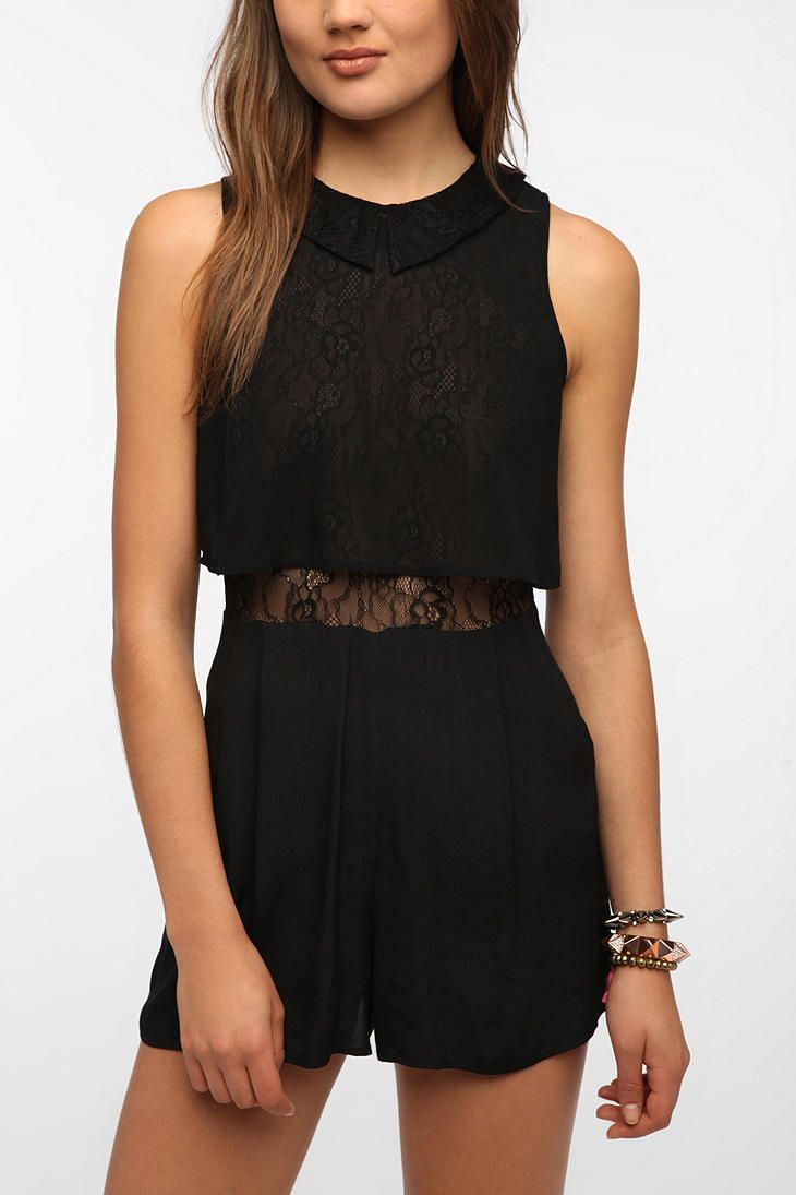 84b2a3559c08 Black lace romper urban outfitters