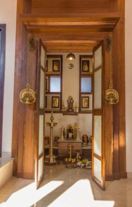 Indian Style Pooja Room Wood Work Designs