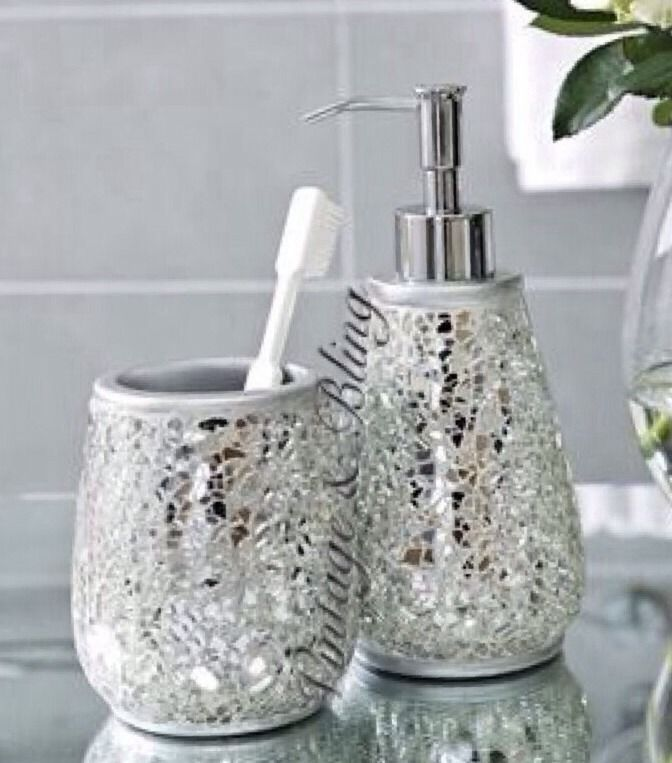 Silver Sparkle Mirror Glass Crackle Bathroom Dispenser Tumbler Accessory Set