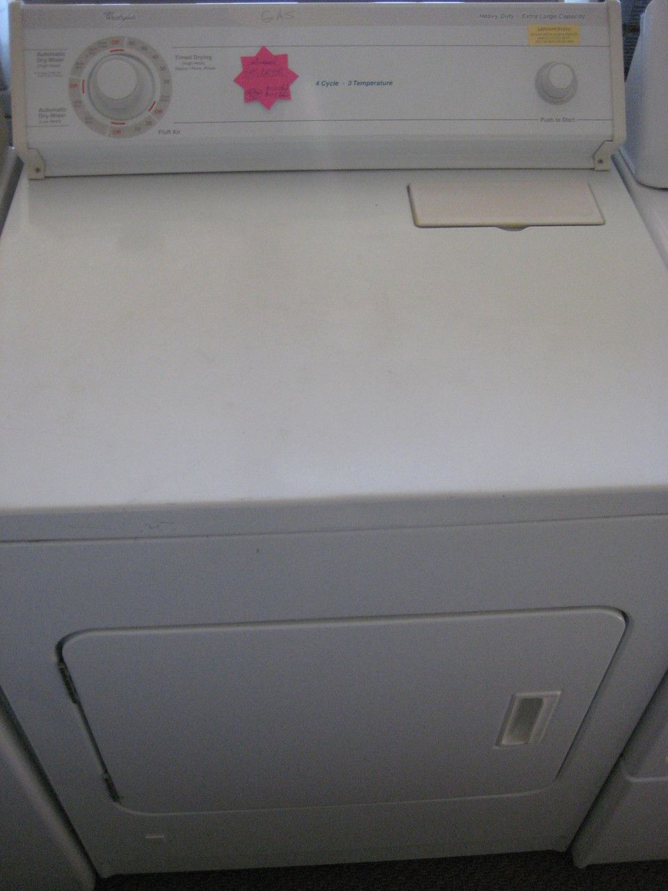 WHIRLPOOL GAS DRYER 4 CYCLE 3 TEMPERATURE TOP FILTER HEAVY