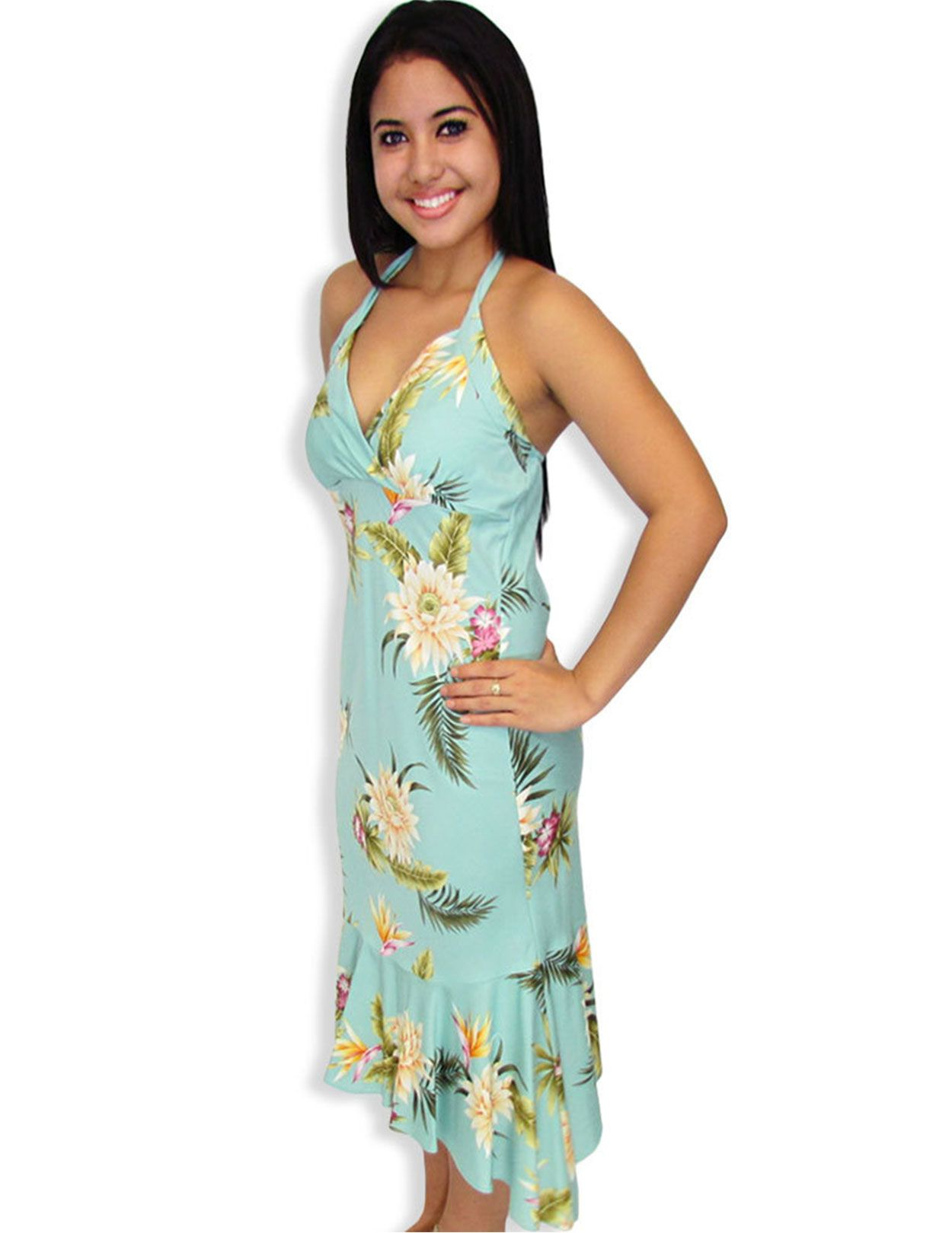 80c36a225 Women s Hawaiian mid dresses. Shop for ladies mid length dresses made in  Hawaii in a variety of tropical colors