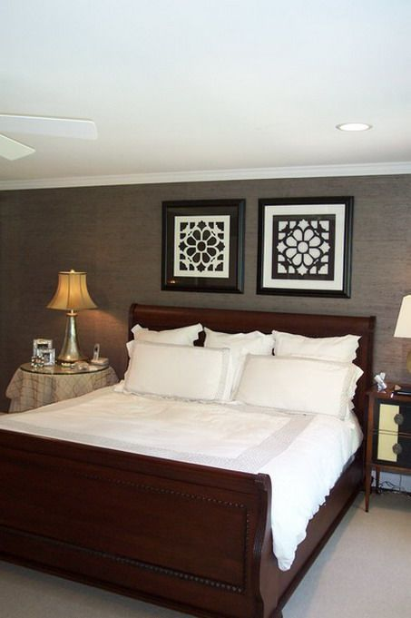 Dark Wall Color Scheme And Classic Elegant Wood Bed Furniture Sets
