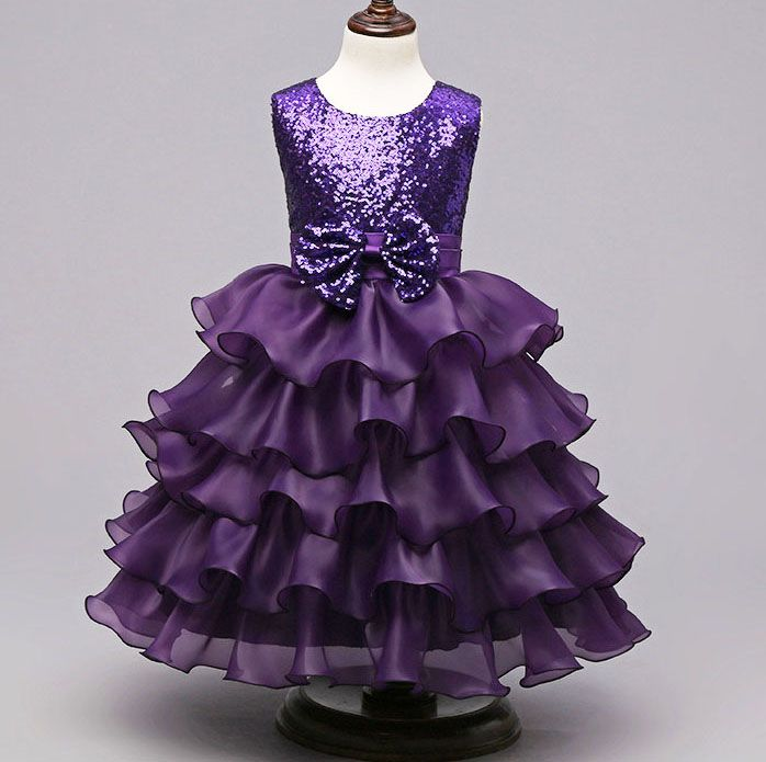 Girls kids frocks Bling Glitter Sequined Bridesmaid Wedding Birthday ...