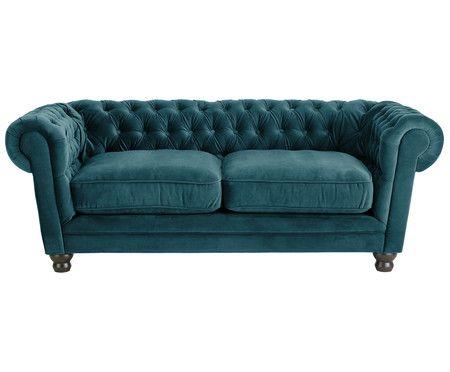 Chesterfield Samt Sofa Sally 2 Sitzer Interieur Sofa