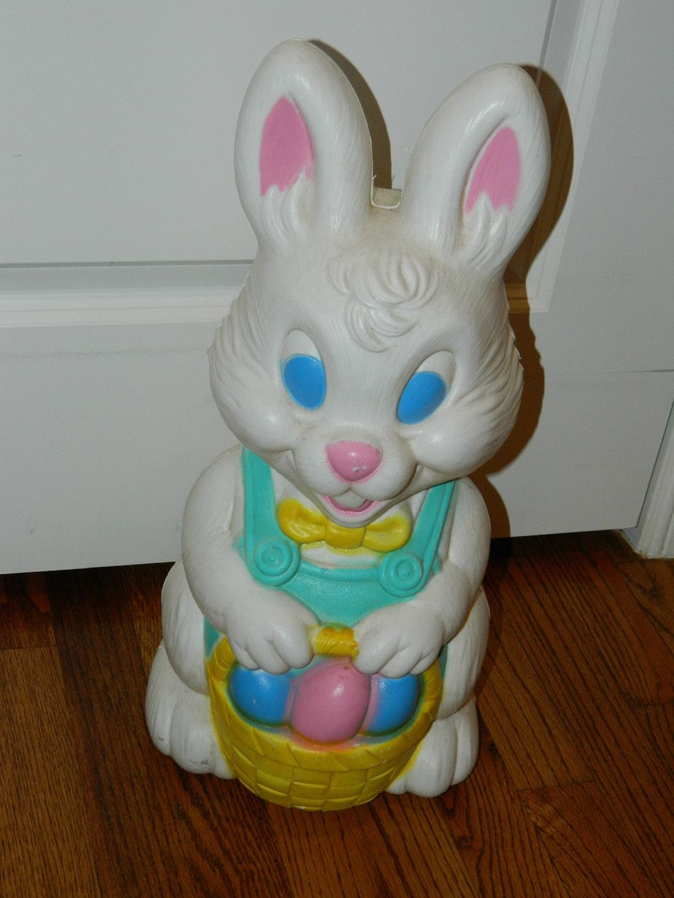 Vintage Easter Bunny Holding Basket Holiday Blow Mold Indoor