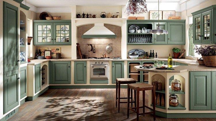 U Förmige Küche Im Landhausstil Mit Fliesenspiegel