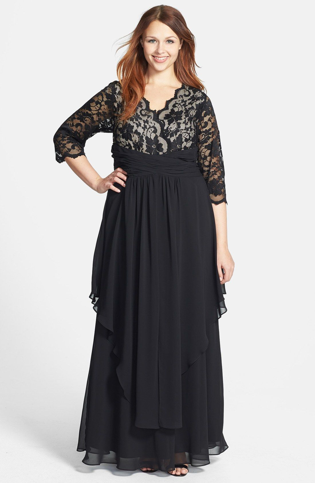 Eliza j lace u layered chiffon gown plus size lovely pinterest