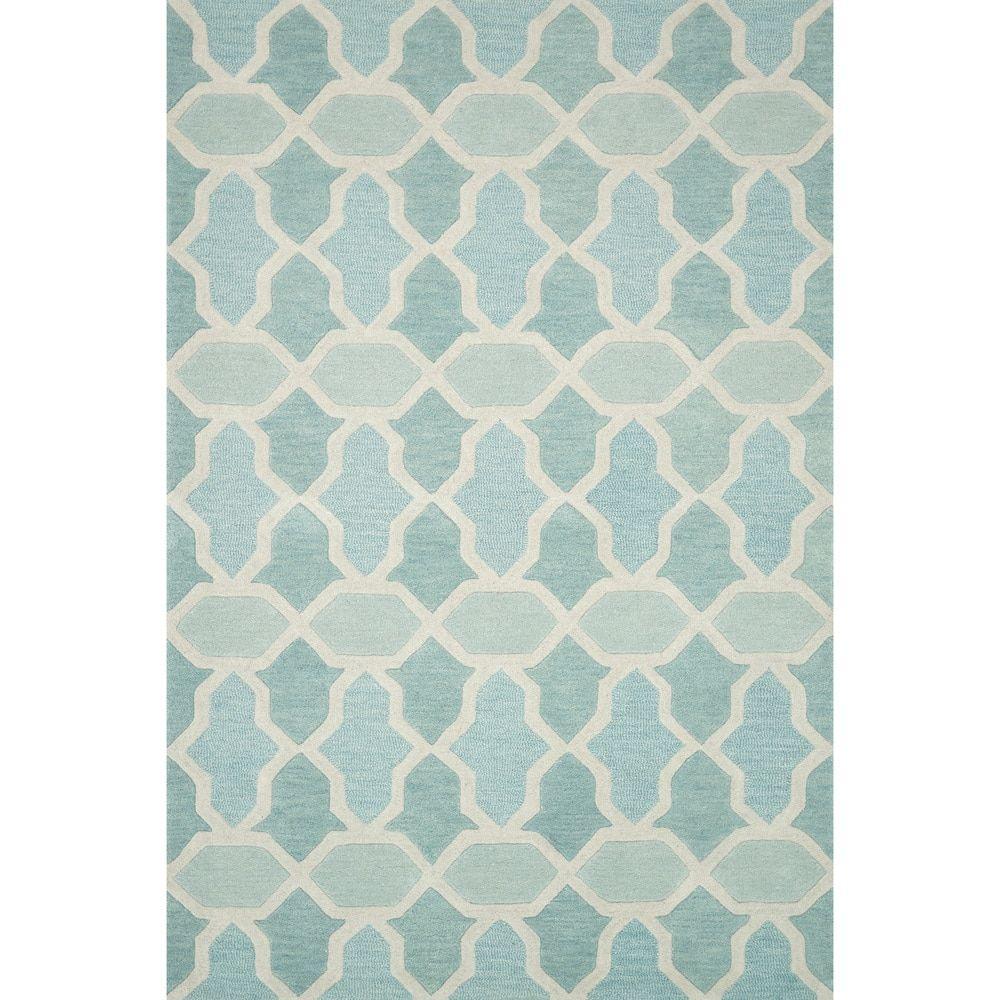 Hand-tufted Tatum Aqua Wool Rug (5'0 X 7'6)