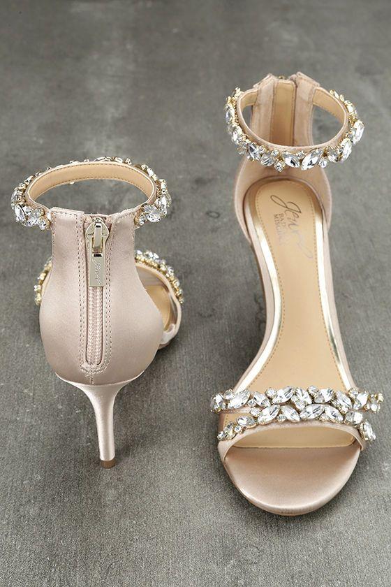 5c2b2220b6 The Jewel by Badgley Mischka Caroline Champagne Satin Rhinestone Heels are  all about glitz and glamour