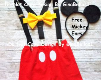 Mickey Mouse Birthday outfit cake smash costume boy bow tie SHORTS clubhouse FREE ears suspenders 1st 2nd 3rd 9 12 18 24 2T toddler SALE & Mickey Mouse Birthday outfit cake smash costume boy bow tie SHORTS ...