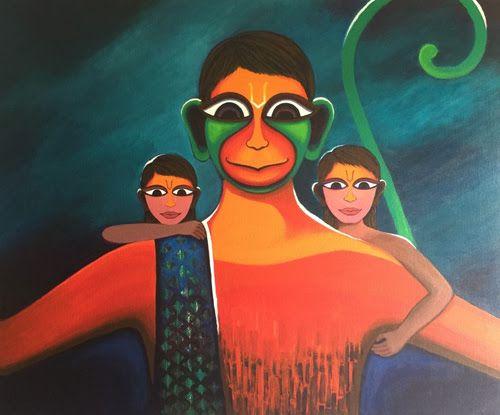 Hanuman painting by Deeksha Roy at Pradarshak colourful