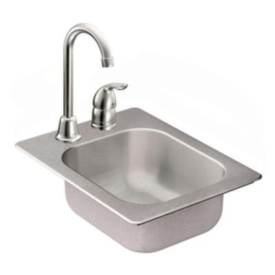 MOEN 2000 Series Drop-in Stainless Steel 13x17x5.5 2-Hole Single Bowl Bar Sink with Faucet-TG2045522 at The Home Depot $174.