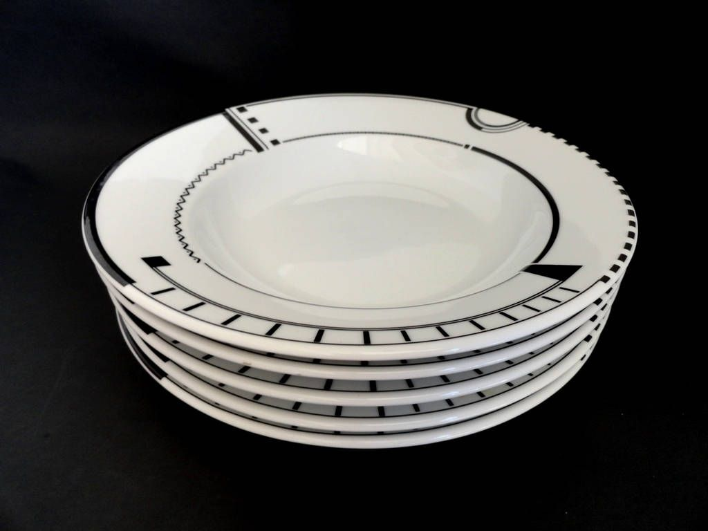 Studio Nova Soho Loft PR505 Set of 5 Coup Bowls Black and White Porcelain & Studio Nova Soho Loft PR505 Set of 5 Coup Bowls Black and White ...