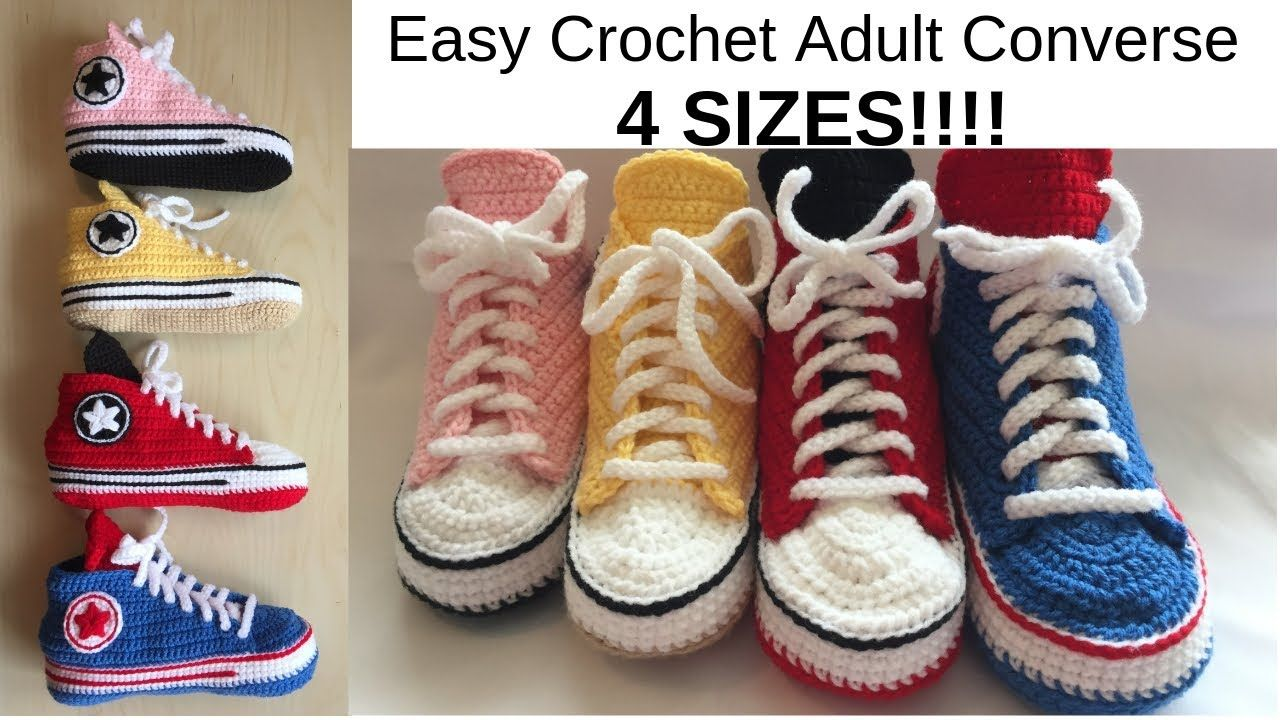 Easy Crochet Adult Converse. 4 SIZES!!!! YouTube Easy