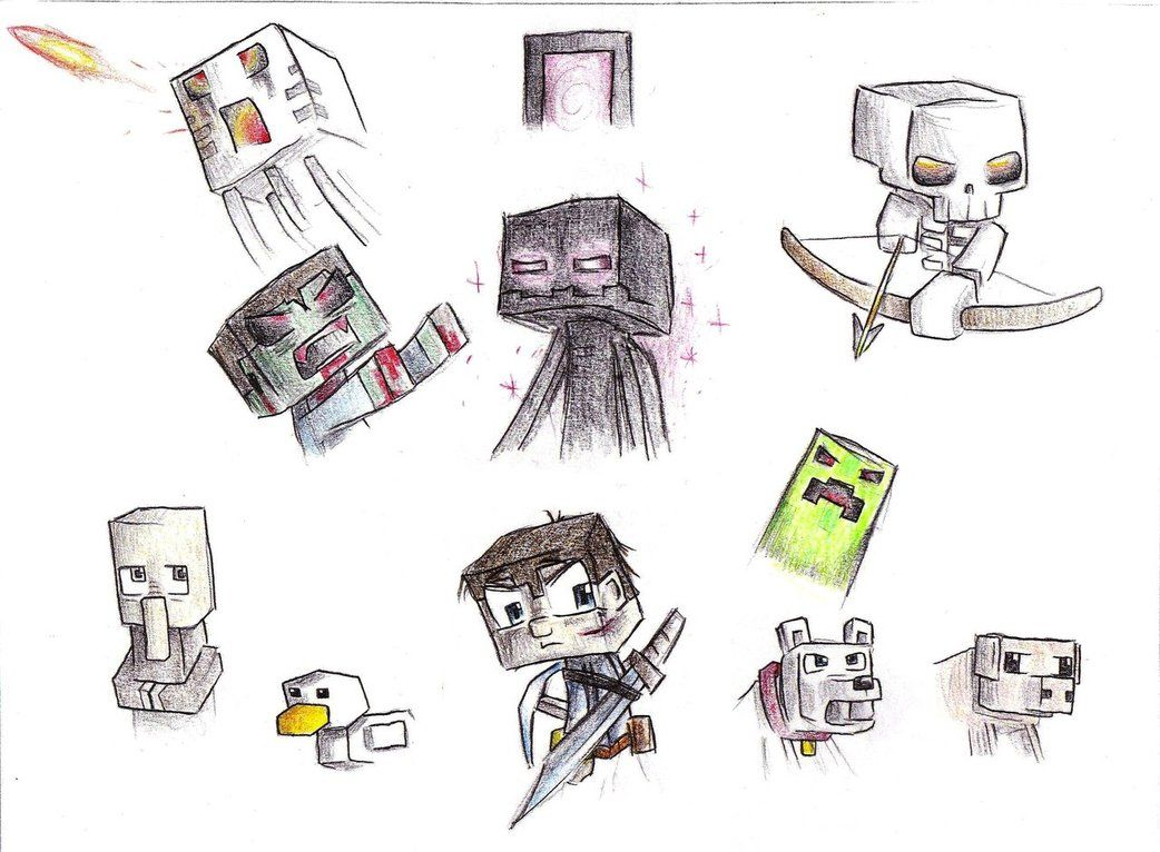Картинки для срисовки майнкрафт мобы