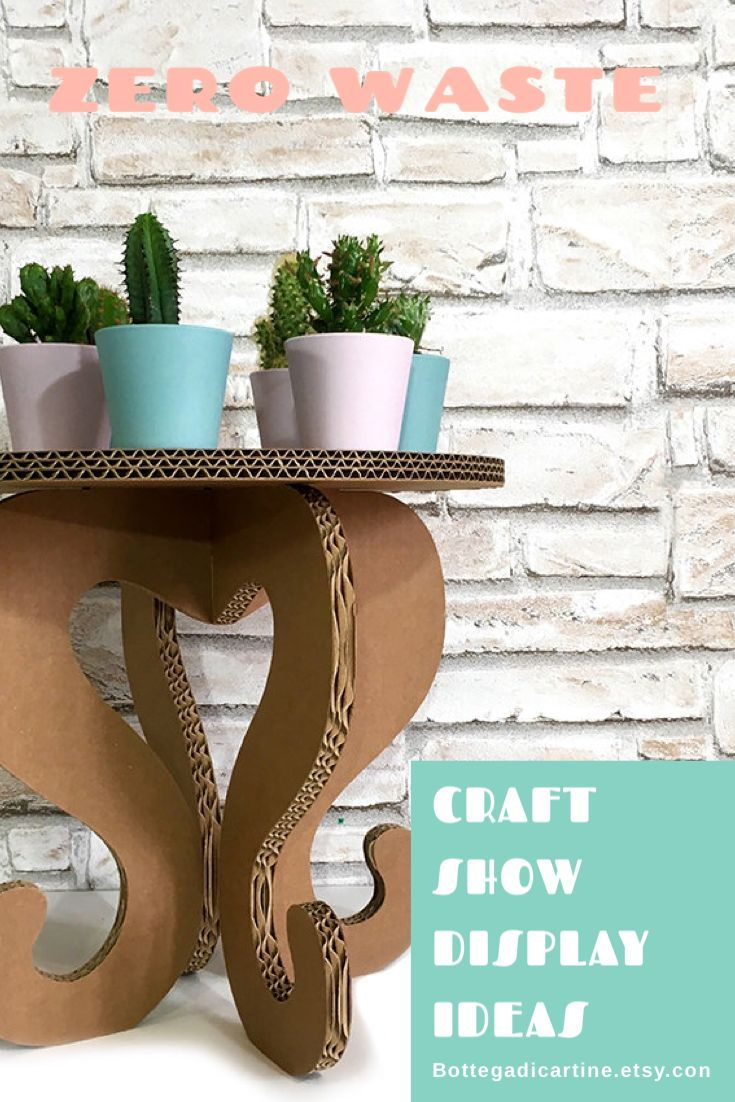 Boho display table cardboard furniture for craft show Eco friendly oak display