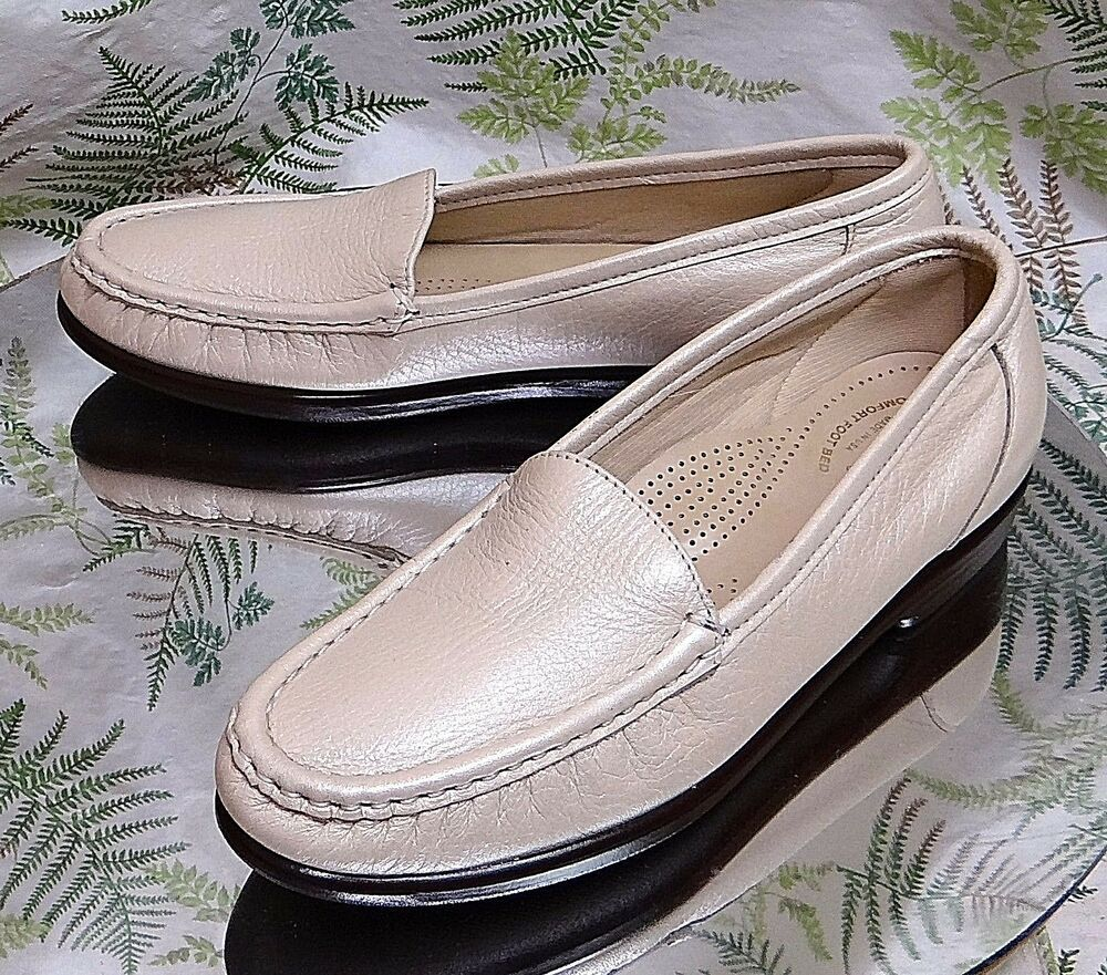picked up exquisite style fashion style SAS BEIGE LEATHER LOAFERS SLIP ONS WALKING COMFORT DRESS SHOES USA ...