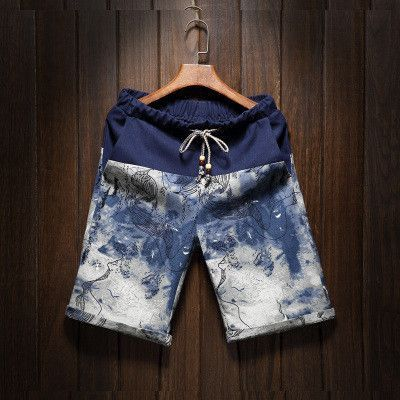 Summer men's large size shorts new male fashion stitching loose linen shorts Personality trend Comfort Shorts 4XL 5XL