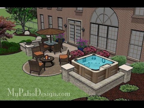 Medium Size Patio Ideas And Designs With Firepit/Hot Tub/Pavilion