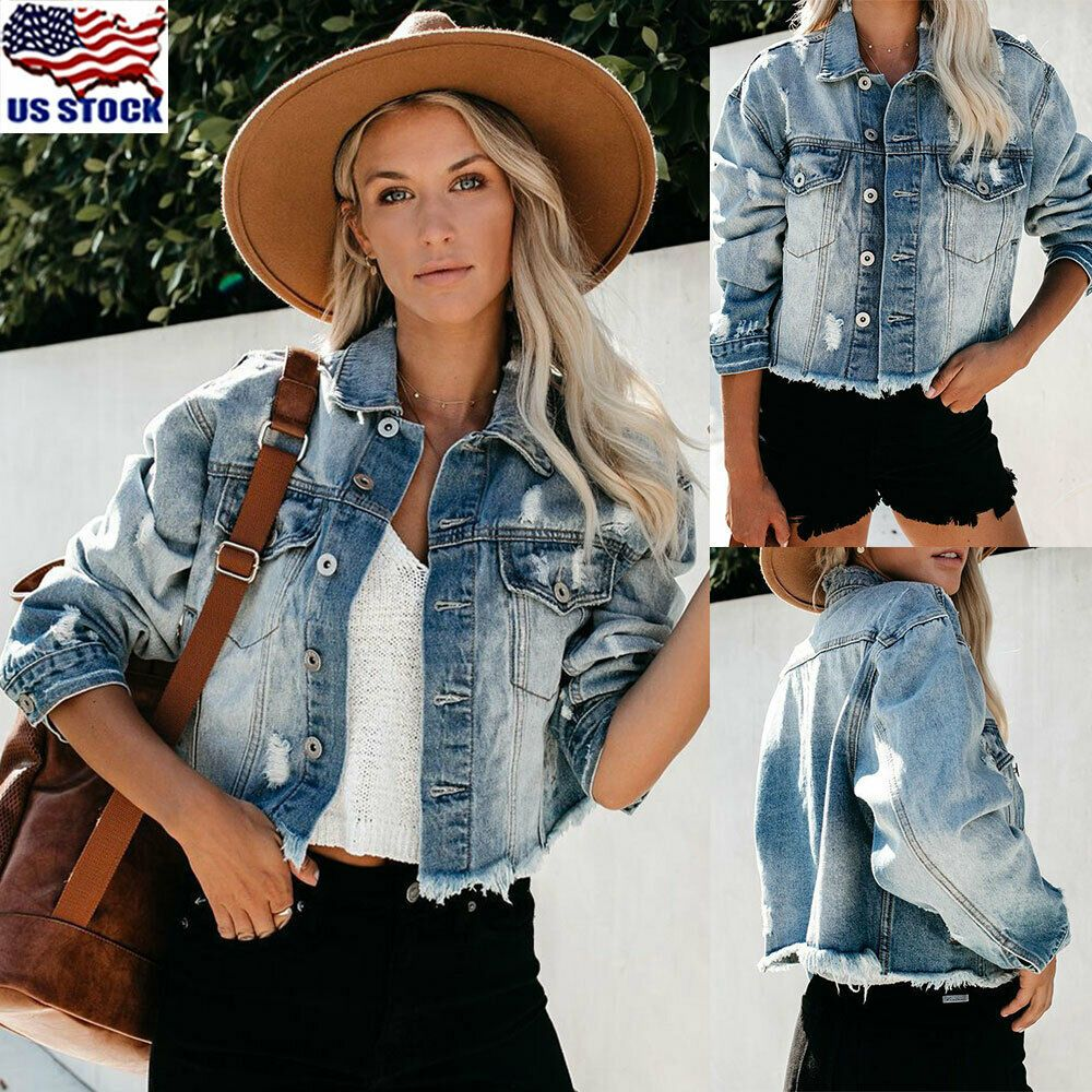 Women Denim Jacket Coats Ripped Distressed Jeans Long Sleeve Button Outwear Tops 15 99 Women Jean Ja Denim Jacket Women Jean Jacket Women Denim Coat Jacket [ 1000 x 1000 Pixel ]