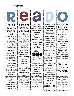 such a good idea for winter break! Take home reading activities (Reado)