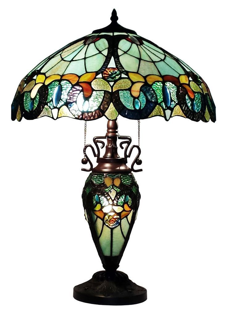 Amora Lighting Tiffany Style Am003tl18 Floral Table Lamp Lighted