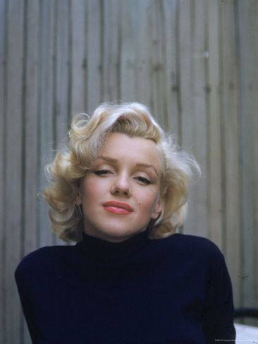 Marilyn Monroe On Patio Outside Of Her Home Premium Photographic