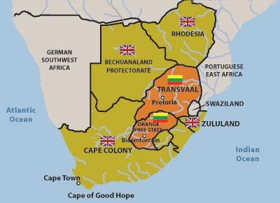 Map Of Africa During Colonization.Boer Republics And English Colonies Before The Boer War South
