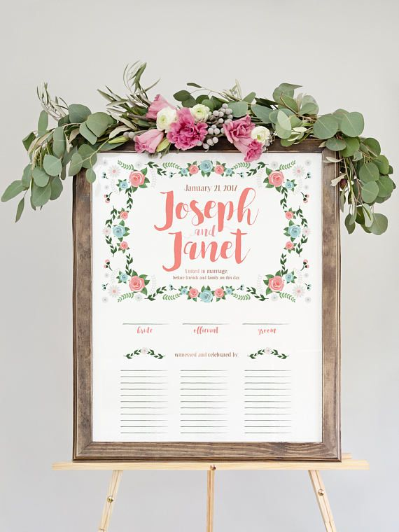 Quaker Marriage Certificate With Flowers Custom Wedding Guest