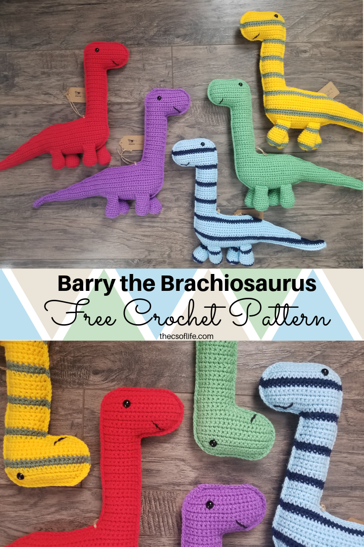 When I was coming up with my unicorn stuffie pattern I was looking at the shape thinking that with some minor adjustments I could turn this into a long neck dinosaur. So that's exactly what I… #crochetdinosaurpatterns