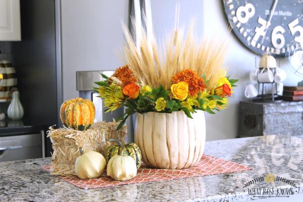 Diy Rustic Pumpkin Vase Decorating With Fresh Flowers Pumpkin