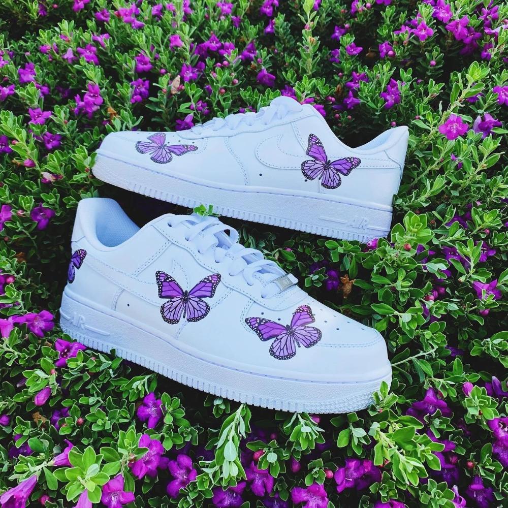 Purple Butterfly AF1 in 2020 Butterfly shoes, Purple