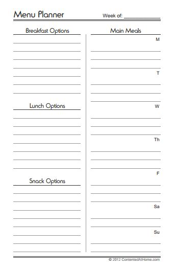 Monthly and Weekly Menu Planners {Free Printables} - AMFT