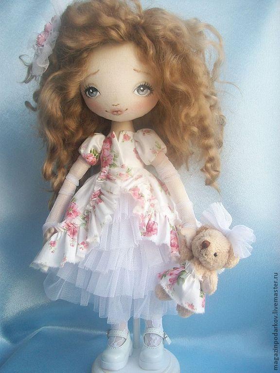 Купить Кукла Симона - розовый, девочка с мишкой, кукла ручной работы, кукла в подарок