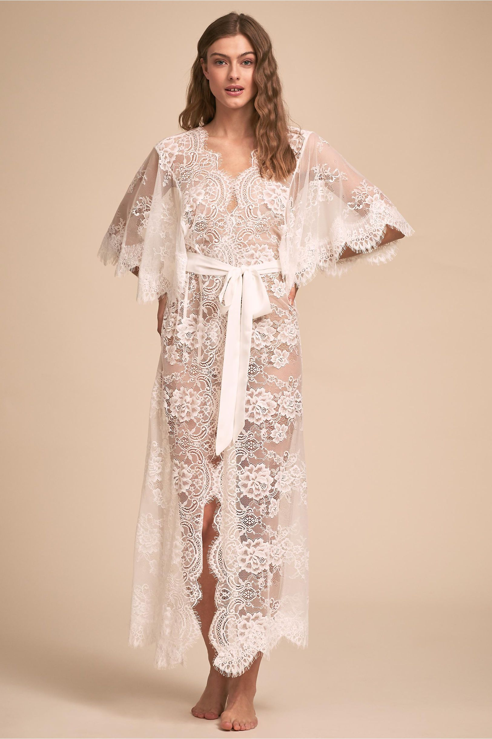 3432934eb BHLDN s Homebodii Kassiah Lace Robe in Ivory