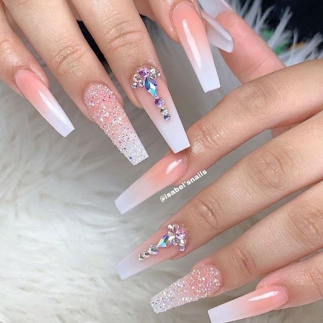 Luxury Custom Large Stones Decorated Nail Art Tips Ombre Coffin Shape Press On Nails