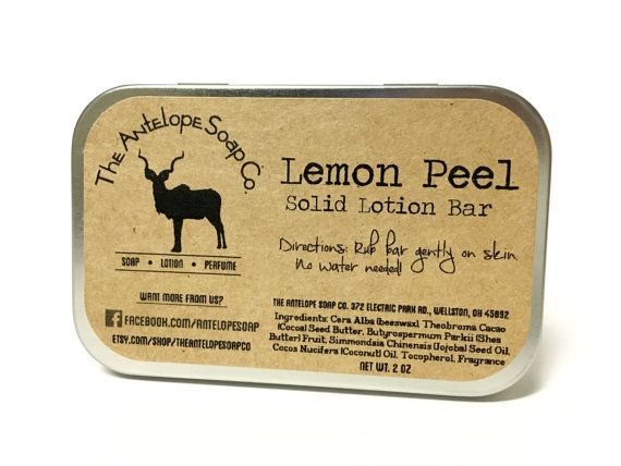 Lemon Peel Solid Lotion Bar by TheAntelopeSoapCo on Etsy