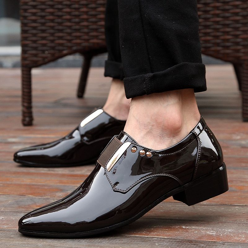 719e53436a4 US  25 Elegant Men Dress Shoes Patent Leather Black Business Wedding Shoes  Flats Pointed Toe Shining Metalic Big Size 45 46 US 10 10.5