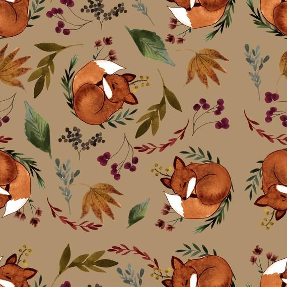 fall seamless patterns, fall papers, autumn patterns, fall floral papers, fall floral patterns, fox patterns, botanical patterns, fox papers