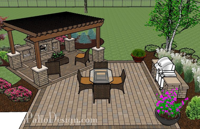 Dreamy fireplace patio design with pergola 635 sq ft for Outdoor gazebo plans with fireplace