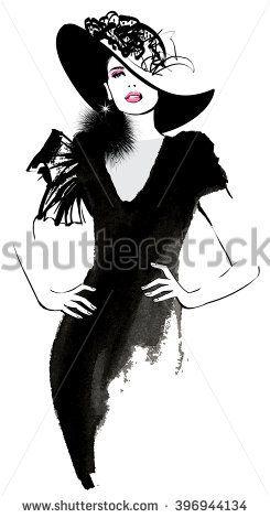 concepteur neuf et d'occasion le plus fiable expédition gratuite Fashion woman model with a black hat - vector illustration ...