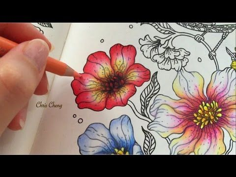 Spring Flower Coloring With Colored Pencils Coloring Book Art Coloring Books Color Pencil Art