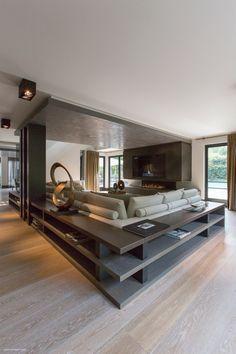 Modernes WohnzimmerDielenbodenBetondecke Christoph Baum Stil Fabrik
