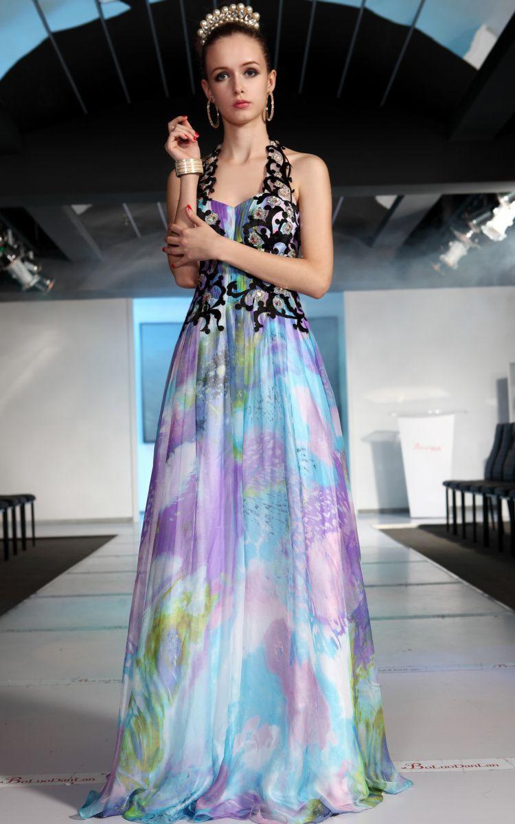 New Bridesmaid Ball Muticolors Strap Chiffon Pattern/Applique Long ...
