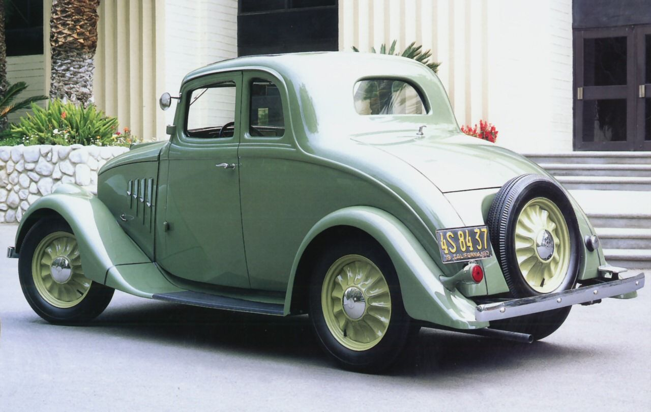 1933 Willys Model 70 Coupe Green Fvl Transport Wallpaper Image