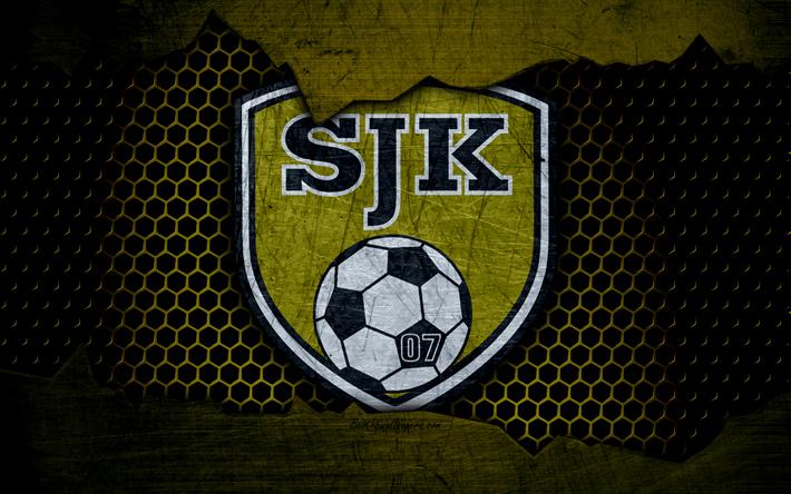 Lataa kuva Seinajoen Jalkapallokerho, 4k, logo, Veikkausliiga, jalkapallo, football club, Suomi, SJK, grunge, metalli rakenne, Seinajoen Jalkapallokerho FC